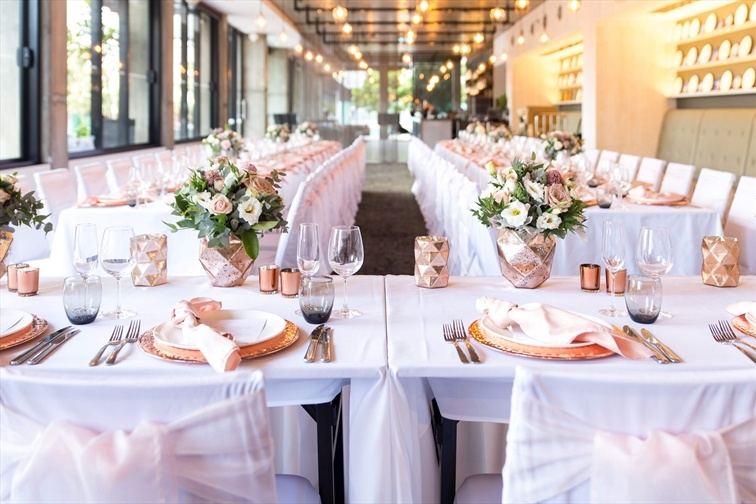 Wedding Venue - Rydges Fortitude Valley - Six Acres Restaurant 1 - Long Tables Wedding Reception Set Up - Six Acres Restaurant on Veilability